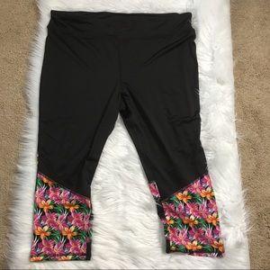 Zone Pro Black Floral Active Legging Yoga Pants 3X